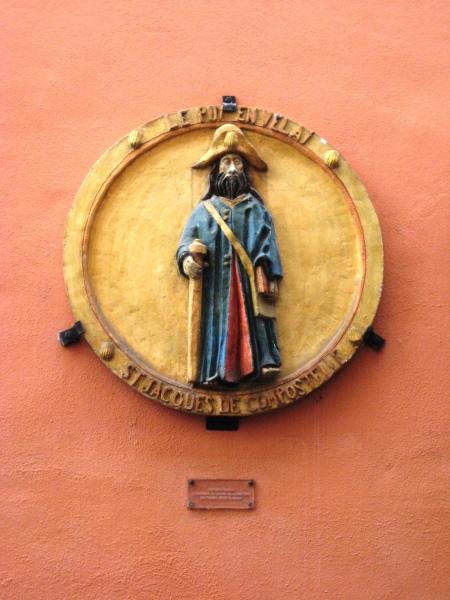 St Jakob som pilegrim. Place du Plot i Le Puy-en-Velay